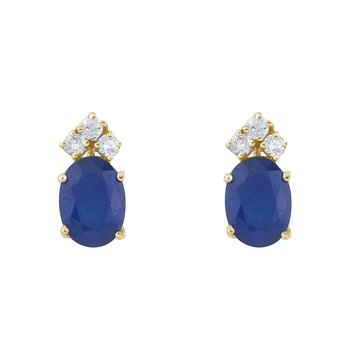 14k Yellow Gold Sapphire And Diamond Oval Earrings