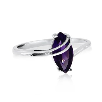 14k White Gold Marquise Amethyst Ovepass Ring