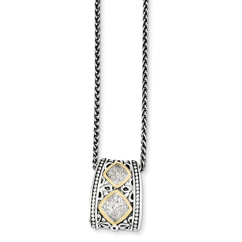 Shey Couture Sterling Silver w/14k Diamond Pendant Necklace