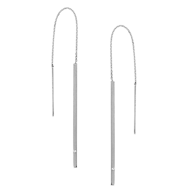 Color Merchants 14K White Gold Threader Bar Earrings