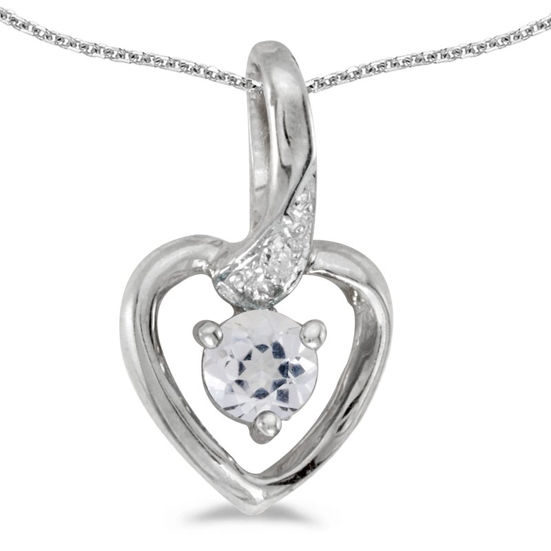 Color Merchants 14k White Gold Round White Topaz And Diamond Heart Pendant