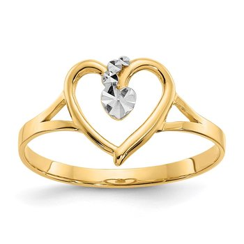 14K and White Rhodium Polished Heart Ring