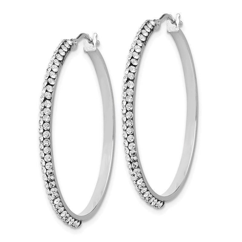 Leslie's Leslie's 14K White Gold Crystals from Swarovski Hinged Hoop Earrings