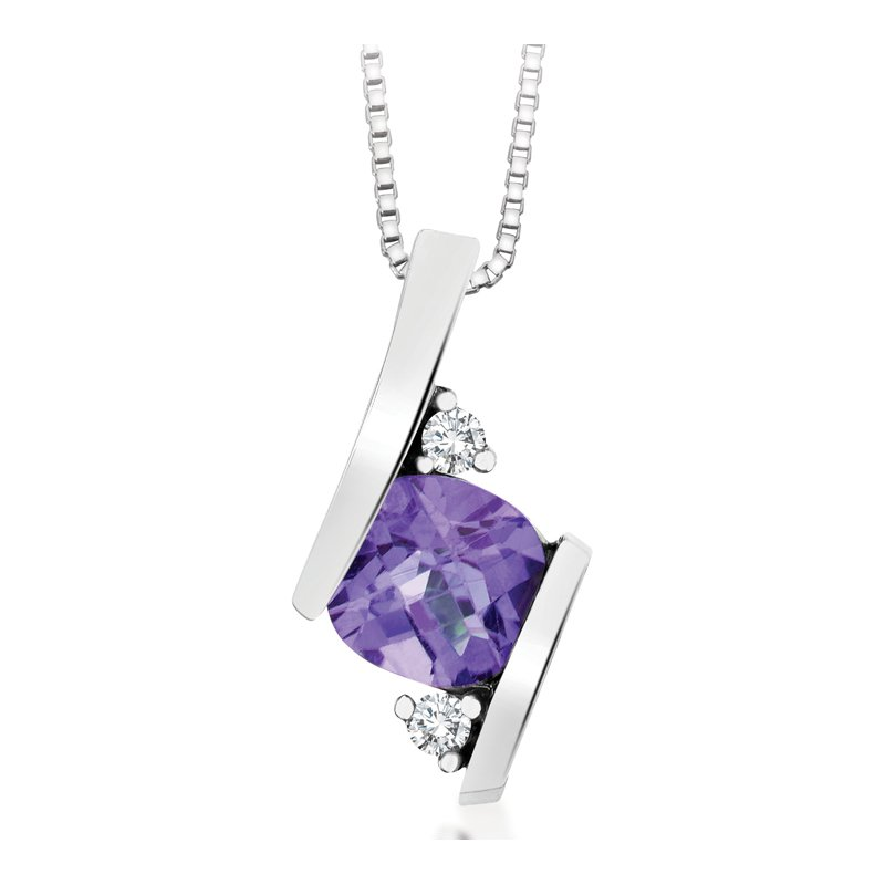 Diamond Wishes Amethyst Pendant