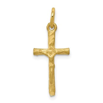 10k Solid Satin Polished Cross Charm