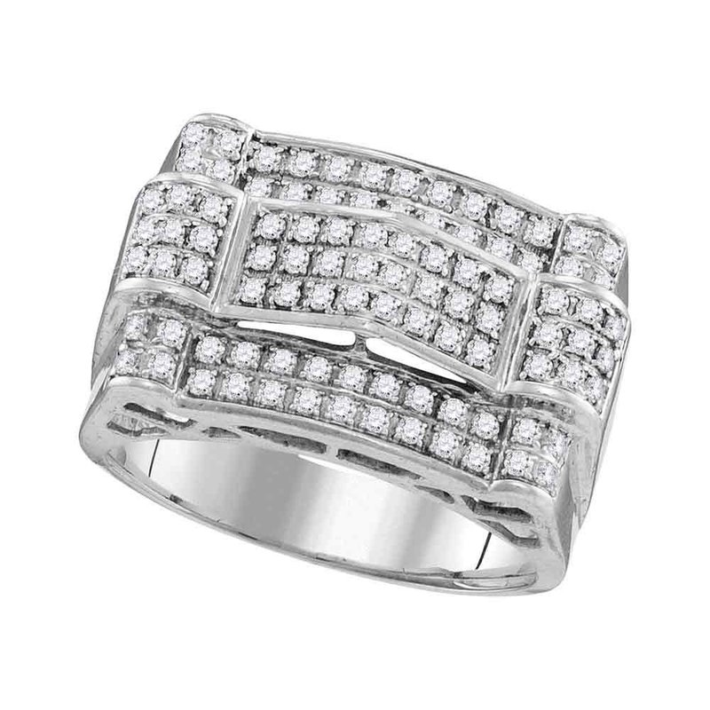Kingdom Treasures 10kt White Gold Mens Round Diamond Symmetrical Arched Cluster Ring 1.00 Cttw