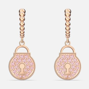 Togetherness Lock Hoop Pierced Earrings, Pink, Rose-gold tone plated