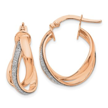Leslie's 14k Rose Gold Glimmer Infused Polished Twisted Hoop Earrings