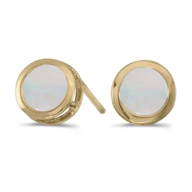 Color Merchants 14k Yellow Gold Round Opal Bezel Stud Earrings