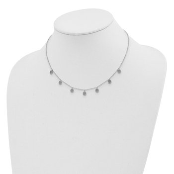 Sterling Silver Rhodium-plated CZ w/ 4in ext. Choker