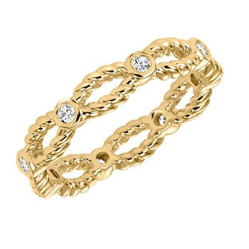 14K Yellow Gold Twist Eternity Wedding Band