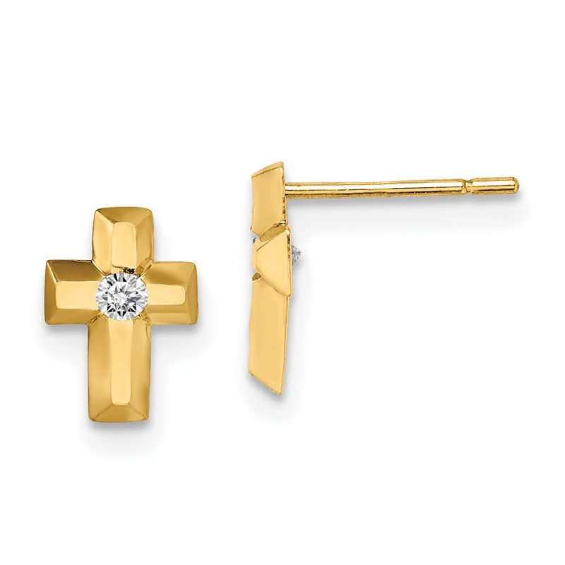 Quality Gold 14k Madi K CZ Cross Post Earrings