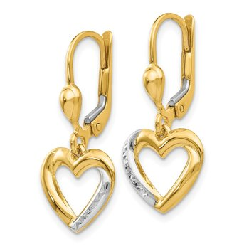 14K and Rhodium Textured and Polished Heart Leverback Earring