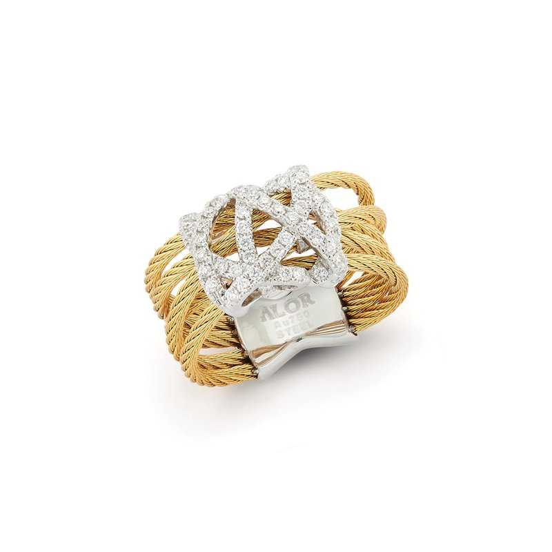 ALOR Yellow Cable Knot Ring with 18kt White Gold & Diamonds