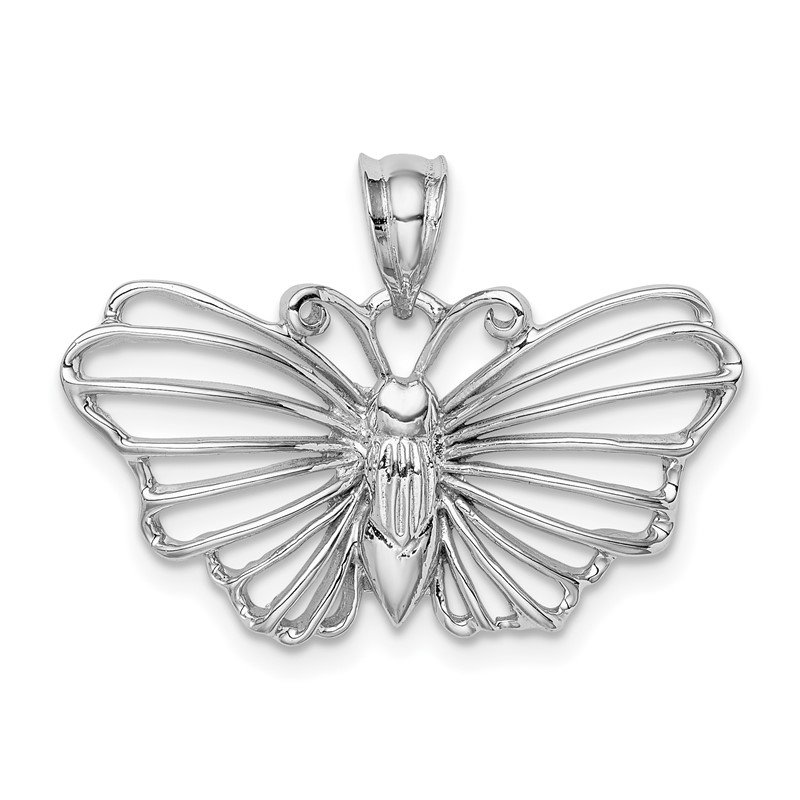 Quality Gold 14K White Polished Butterfly Pendant