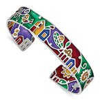 Quality Gold Sterling Silver Rhod-plated Mosaic Multicolor Enamel Mexico Cuff Bangle