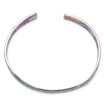 Sterling Silver Rhod-plated Mosaic Multicolor Enamel Mexico Cuff Bangle