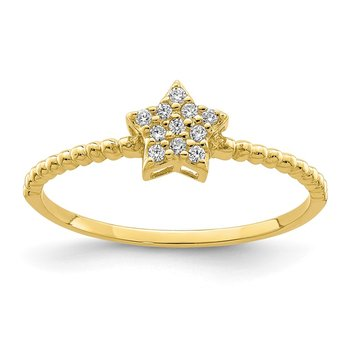 10K Yellow Gold Star CZ Ring