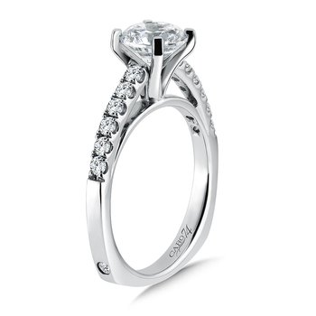 Prong Set Round Diamond Engagement Ring with Side Stones in 14K White Gold with Platinum Head (1-1/4ct. tw.)