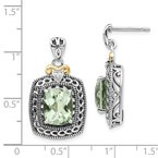 Shey Couture Sterling Silver w/14k Diamond & Green Quartz Earrings