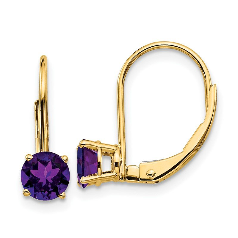 Quality Gold 14k 5mm Amethyst Leverback Earrings