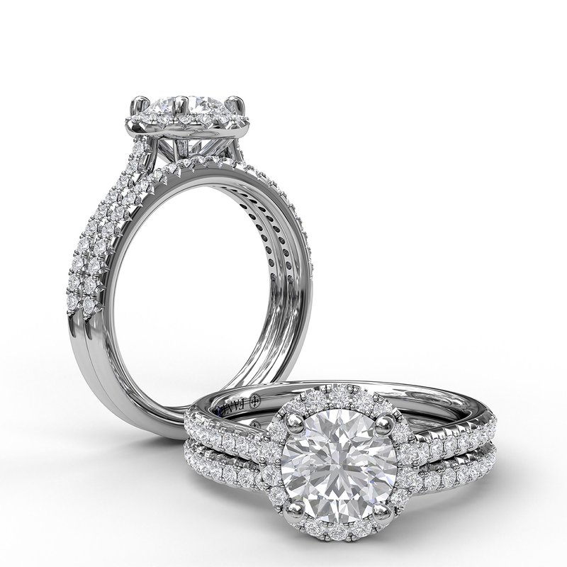 Fana Delicate Round Halo And Pave Band Engagement Ring