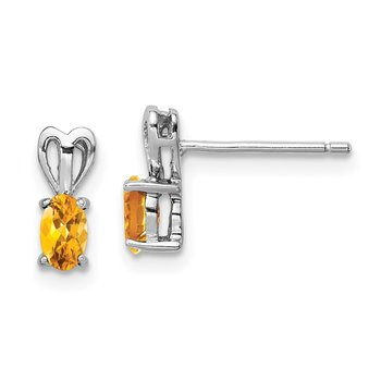 Sterling Silver Rhodium-plated Citrine Earrings
