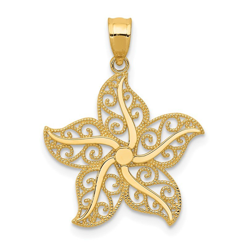 Quality Gold 14k Polished Filigree Starfish Pendant