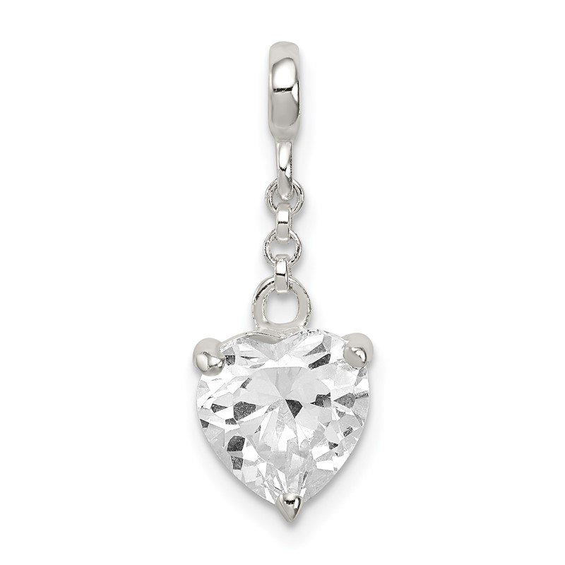 Quality Gold Sterling Silver Clear CZ Heart 1/2in Dangle Enhancer