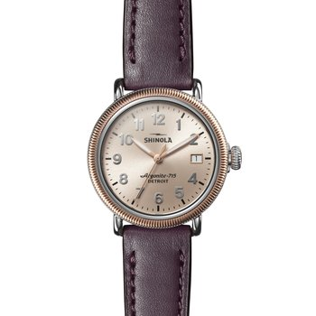 Runwell Coin Edge 3HD 38mm, Aubergine Leather Strap
