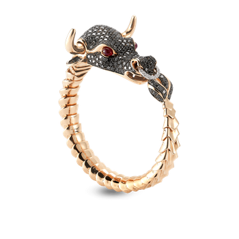 18KT GOLD FLEXIBLE BULL BANGLE WITH DIAMONDS AND RUBIES