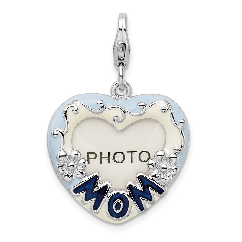 Amore La Vita Sterling Silver Enameled Heart Mom with Lobster Clasp Charm