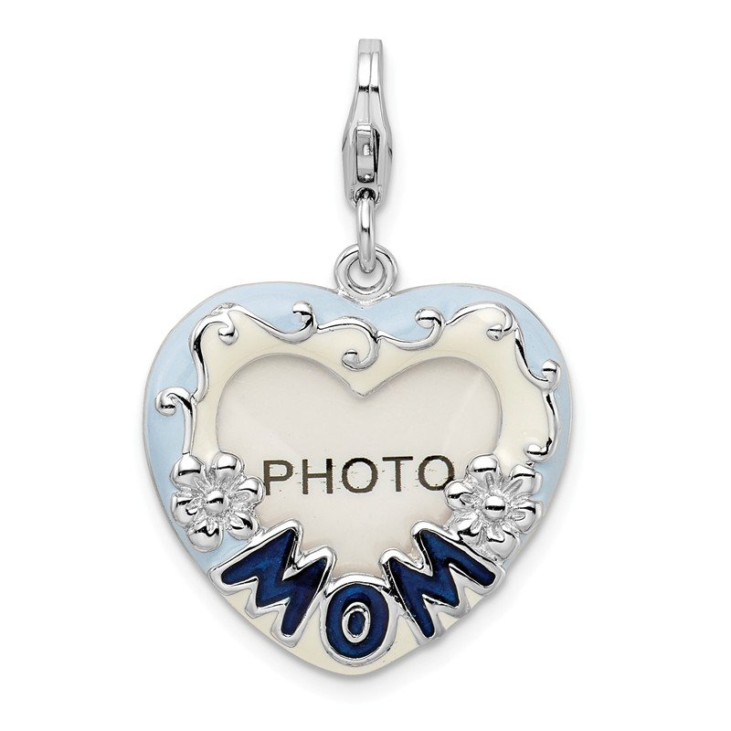 Quality Gold Sterling Silver 2-D Blue Enameled Mom Photo w/Lobster Clasp Charm