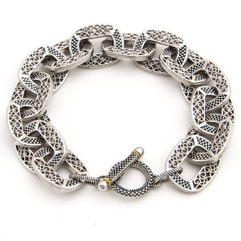 18KT AND STERLING SILVER TOGGLE BRACELET