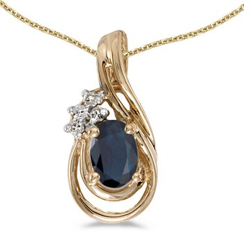 14k Yellow Gold Oval Sapphire And Diamond Teardrop Pendant