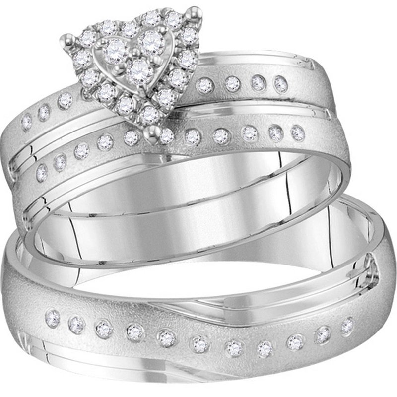 Gold-N-Diamonds 14kt White Gold His & Hers Round Diamond Heart Matching Bridal Wedding Ring Band Set 1/4 Cttw