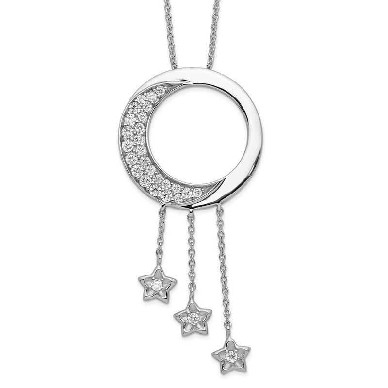 Quality Gold Sterling Silver & CZ I Promise You the Moon and Stars 18in Necklace