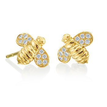 "Honeybee ""B"" Diamond Worker Bee Stud Earrings E827Y"