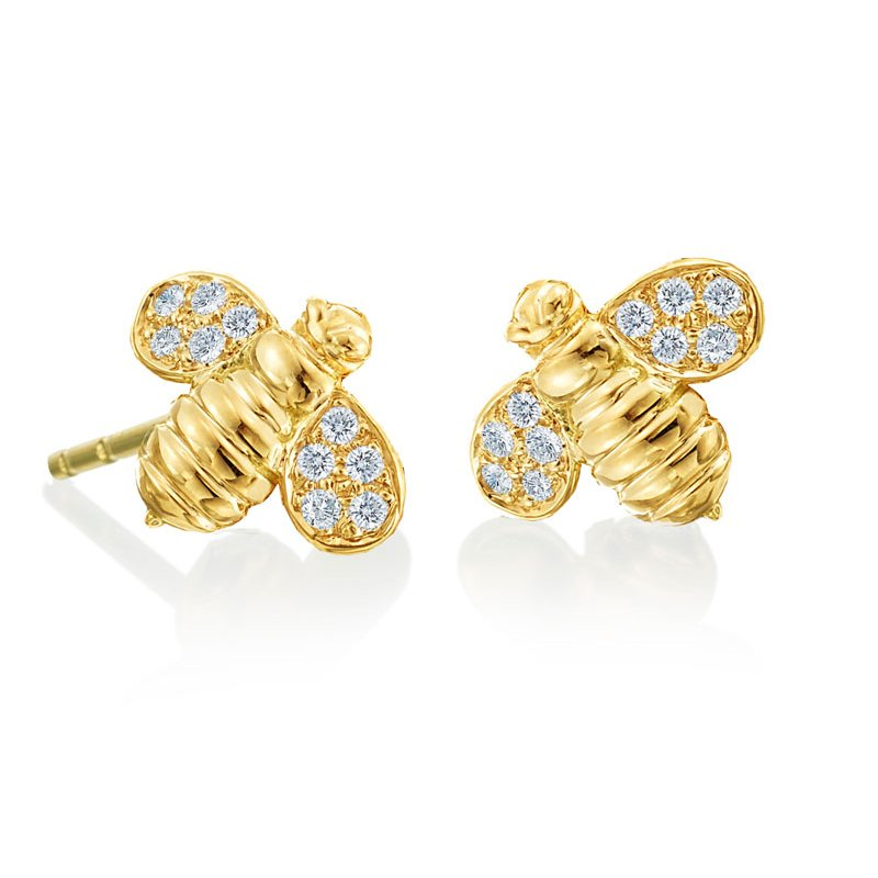 "Gumuchian Honeybee ""B"" Diamond Worker Bee Stud Earrings E827Y"
