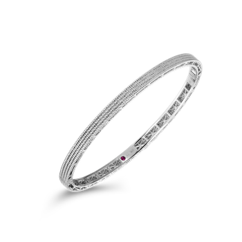 Barocco Oval Bangle &Ndash; 18K White Gold