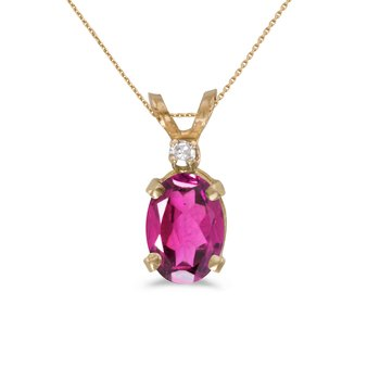 14k Yellow Gold Oval Pink Topaz And Diamond Pendant