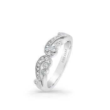 Feminine Milgrain Diamond Wedding Band