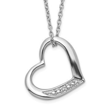 Sterling Silver Rhodium-plated Heart with Diamond Necklace