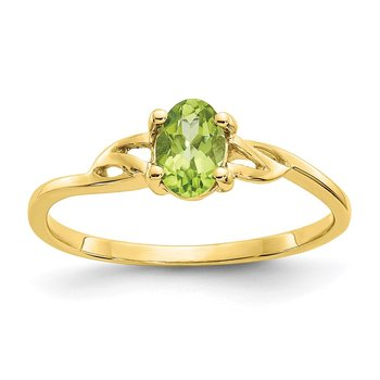 10k Polished Geniune Peridot Birthstone Ring