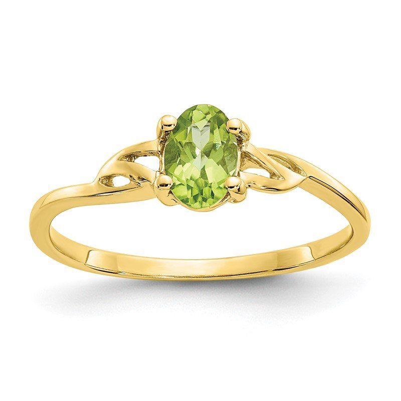 Quality Gold 10k Polished Geniune Peridot Birthstone Ring