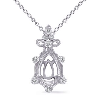 White Gold Diamond Pendant 7x5 Pearshape
