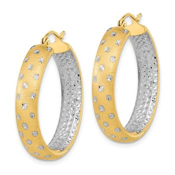 14k & Rhodium Polished, Satin & D/C In/Out Hoop Earrings
