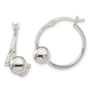 Sterling Silver Polished Bead Hoop Earrings