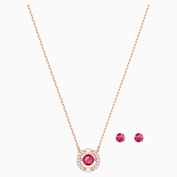 Swarovski Sparkling Dance Round Set, Red, Rose-gold tone plated