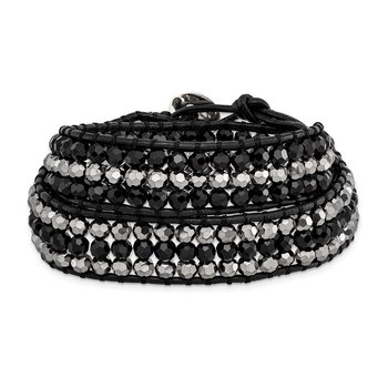 Black Aurora Borealis/Grey Crystal Bead/Leather Multi-wrap Bracelet